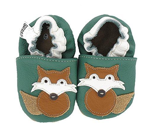 HOBEA-Germany Krabbelschuhe Fuchs - Pantuflas para bebés Verde (dunkelVerde)
