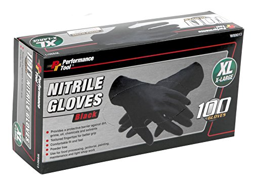 (Performance Tool W89013 100pc Black Nitrile Gloves   Disposable, Powder Free, latex rubber free, Textured Fingertips for Better Grip - X-Large)