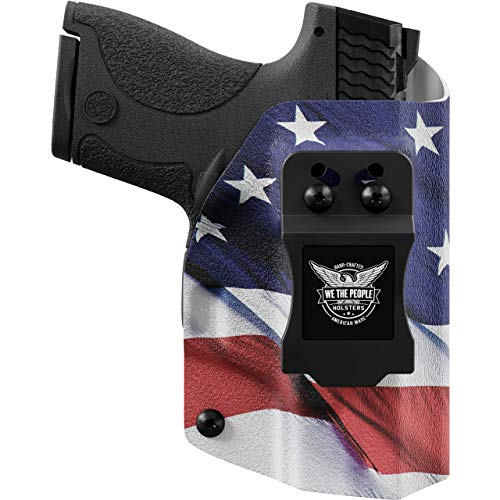 We The People - IWB Holster Compatible with Glock 19 23 32 45 19X Gen 3-4-5 Gun - Inside Waistband Concealed Carry Kydex Holster (Right Hand, American Flag)