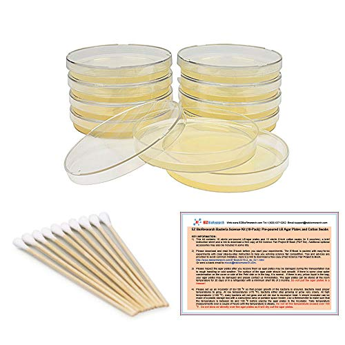 (EZ BioResearch Bacteria Science Kit (IV): Top Science Fair Project Kit. Prepoured LB-Agar Plates And Cotton Swabs. Exclusive Free Science Fair Project E-Book Packed With Award Winning Experiments.)