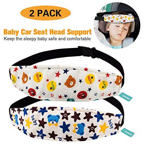 2 Packs Toddler Car Seat Neck Relief and Head Support, Pillow Support Head Band Easy Installation On Most Convertible Seats and Safety to Babies and Kids(Bear)
