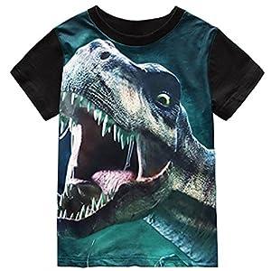 Fedpop Boys Cool 3D Angry Dinosaur T-Shirt Black Short Sleeve Tee for Kids 4-9 Years(FBA)