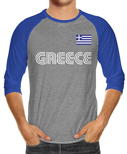 SpiritForged Apparel Greece Soccer Jersey Unisex 3/4 Raglan Shirt, Royal/Heather Medium