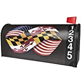 NEONBLOND Friendship Flags USA and Maryland Region America (USA) Magnetic Mailbox Cover Custom Numbers