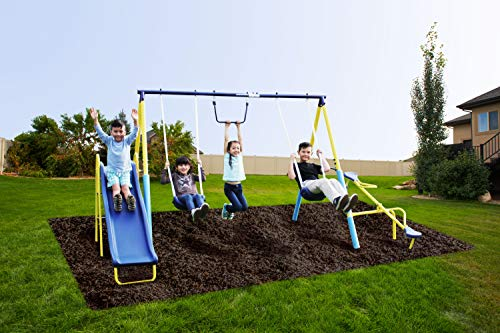 SupremeToys Metal Swing n Slide with A Trapeze and Glider Swing Sets for Kids Outdoor Backyard Playground Teeter Totter Swingset Outside New (Kids For Swingsets)