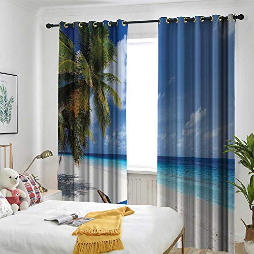 (one1love Seaside Decor Collection Blackout Curtain Tropical Beach Chair Sand Palm Trees and Sunny Summer Day Picture Room Darkening Thermal 72