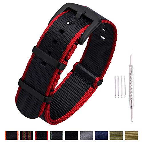 Ritche NATO Watch Strap with Heavy Buckle 18mm 20mm 22mm Premium Seat Belt Nylon Watch Bands for Men Women (Black/Crimson Red Edges -Black Buckle, 22mm)