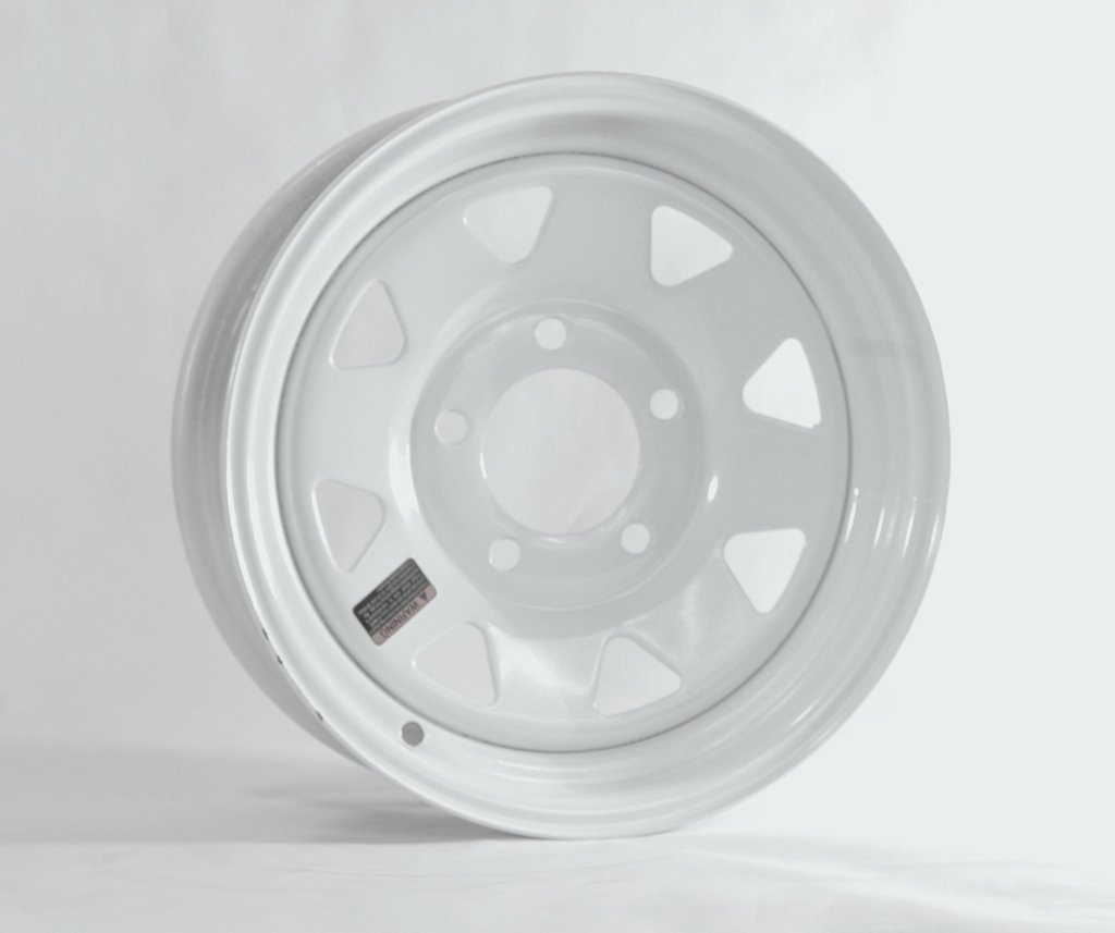 eCustomRim Trailer Rim Wheel 13'' 13X4.5 5 Lug Hole Bolt Wheel White Spoke Design