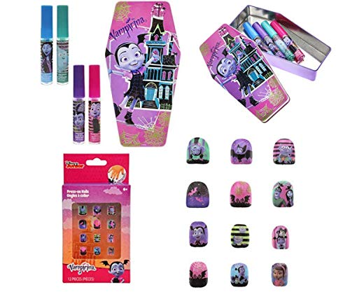 Vampirina Bundle: 6 items Super Sparkly Lip Gloss Set for Girls, with 4 Fruity Flavors & Decorative Coffin Case & Press On Nails]()