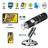 Wireless Digital Microscope PFC Optics 50X-1000X 1080P Handheld Portable Mini WiFi USB Microscope Camera with 8 LED lights for iPhone/iPad/Smartphone/Tablet/PC