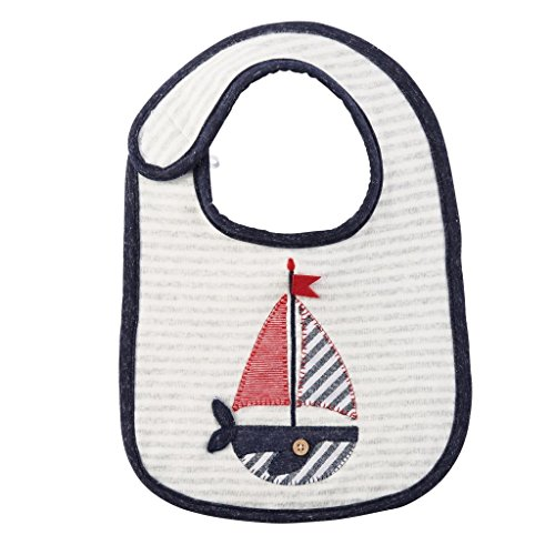 Mud Pie Sail Away Baby Boy Cotton Whale-Boat Feeding Bib