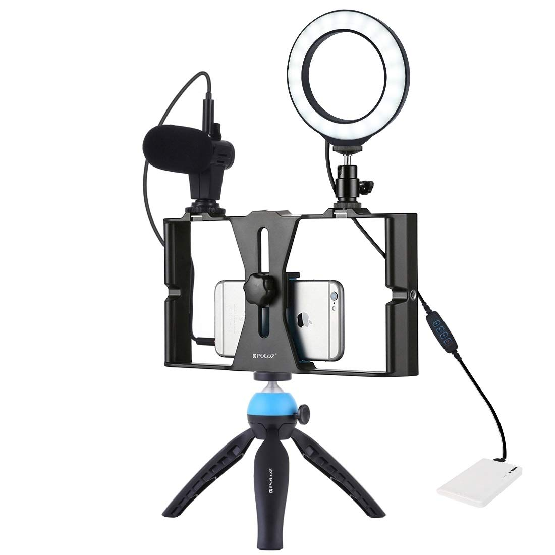 JIN Camera Accessory 4 in 1 Vlogging Live Broadcast Smartphone Video Rig + 4.7 inch 12cm Ring LED Selfie Light Kits with Microphone + Tripod Mount + Cold Shoe Tripod Head for iPhone, Galaxy, Huawei, X by JIN-US