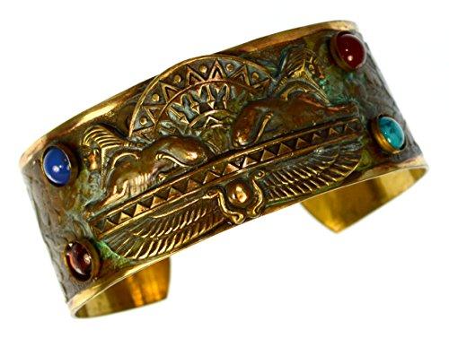 Egyptian Motif Patina Brass Dual Sphinx Cuff Bracelet - Semiprecious Stones (Egyptian Motif)
