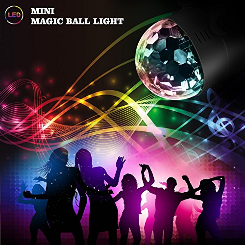 Stage Party Lights - Costech Portable Sound Activated DJ Lighting; RGB Auto Rotating Disco Ball; Strobe Lamp Stage Par Light; 7 Color Changing Crystal LED Ball for Club Pub/ Disco DJ Show by CT COSTECH (Image #5)