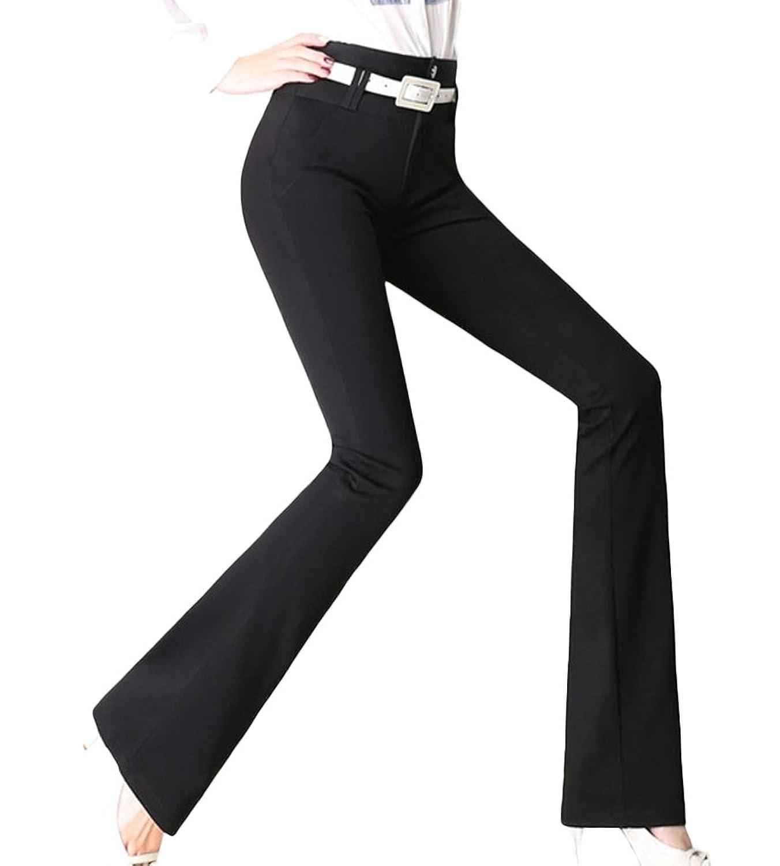 Insun Women's Fashion High Waist Curvy Fit Bootcut Wide Pants Black