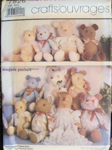 Stuffed Teddy Bear Patterns (Simplicity Crafts Stuffed Bears in Three Sizes Sewing Pattern # 7826)