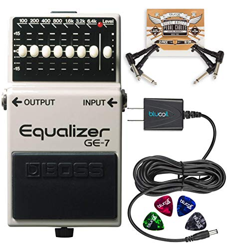 BOSS GE-7 Equalizer Pedal with 7 Band EQ Bundle with Blucoil 9V DC Power Supply with Short Circuit Protection, 2-Pack of Pedal Patch Cables and 4-Pack of Celluloid Guitar Picks (Graphic Equalizer Guitar Pedal)