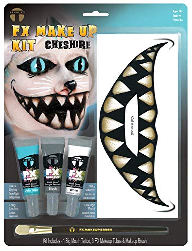 Adults Teens Character Cheshire Cat Tattoo Transfers Face Paint Halloween Horror Accessory Make Up Kit with Brush (Cheshire -