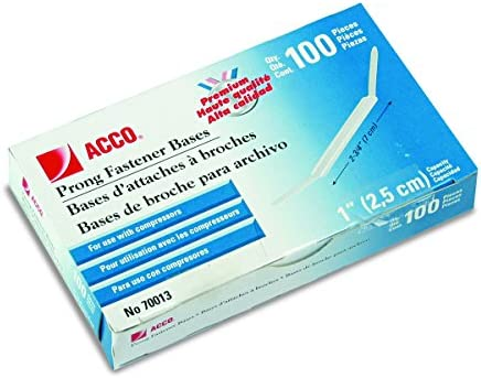 Amazon.com : ACCO Brands Premium Prong Bases for Standard 2-Hole Punch, 1-Inch Capacity, 100 Pack (A7070013H) : Office Paper Clamps : Office Products