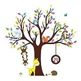 Soledi Wall Sticker Kids Jungle Theme Peel & Stick wall Decal Owl Giraffe Tree Children Bedroom