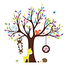 Soledi Wall Sticker Kids Jungle Theme Peel & Stick wall Decal Owl Giraffe Tree Children Bedroom