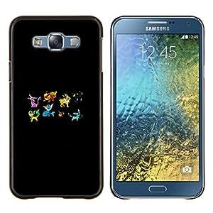 Pekemon Equipo- Metal de aluminio y de plástico duro Caja del teléfono - Negro - Samsung Galaxy E7 / SM-E700