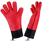 Oven Gloves, Heat Resistant Cooking Gloves Silicone Grilling Gloves Long Waterproof BBQ Kitchen Oven Mitts with Inner Cotton Layer for Barbecue, Cooking, Baking (Red)