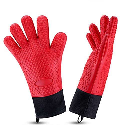 (Oven Gloves, Heat Resistant Cooking Gloves Silicone Grilling Gloves Long Waterproof BBQ Kitchen Oven Mitts with Inner Cotton Layer for Barbecue, Cooking, Baking (Red))
