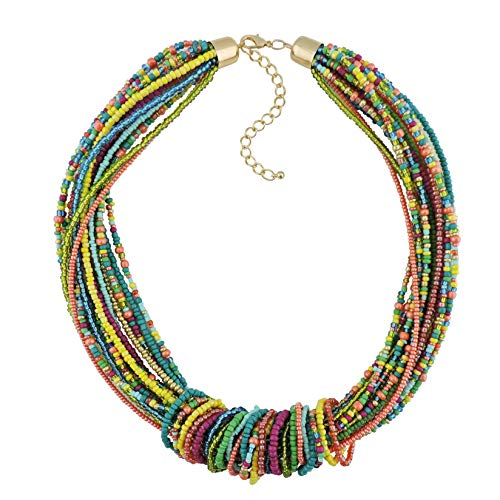 Multi Color Beads Necklace (Bocar Chunky Statement Colorful Seed Beads Women Choker Collar Necklace)