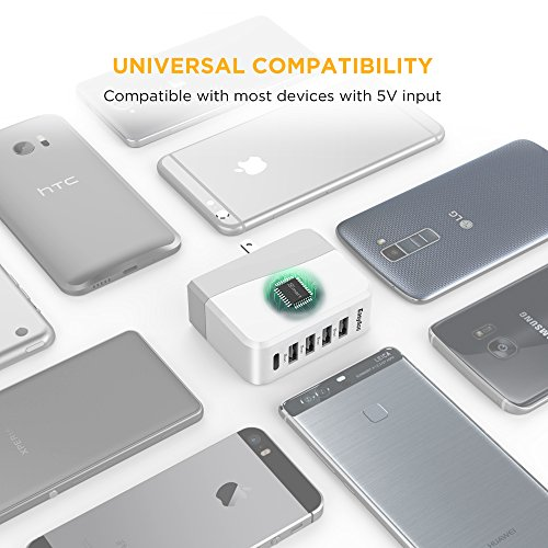 EasyAcc 20W 4A 4-Port USB Wall Charger with Folding Plug and Smart Technology Travel Charger For iPhone 6 Plus, iPad, Samsung Galaxy S6 Edge, Tab