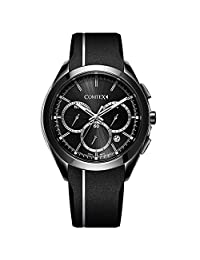 COMTEX Sport Watches for Men with Rubber Strap and Quartz Analog Black Dial Calendar