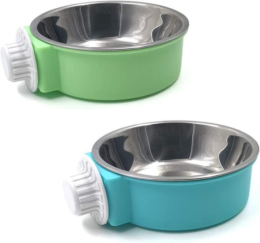 N//A 2Pcs Crate Dog Bowl, Removable Stainless Steel Hanging Pet Cage Bowl, Pet Food Water Bowl for Cat Puppy Bird Rabbit