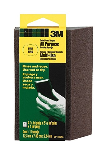 3M CP040-12-CC 4.875 by 2.875 by 1 Inch Sanding Sponge Single Angle, Fine grit (3-Pack) by 3M