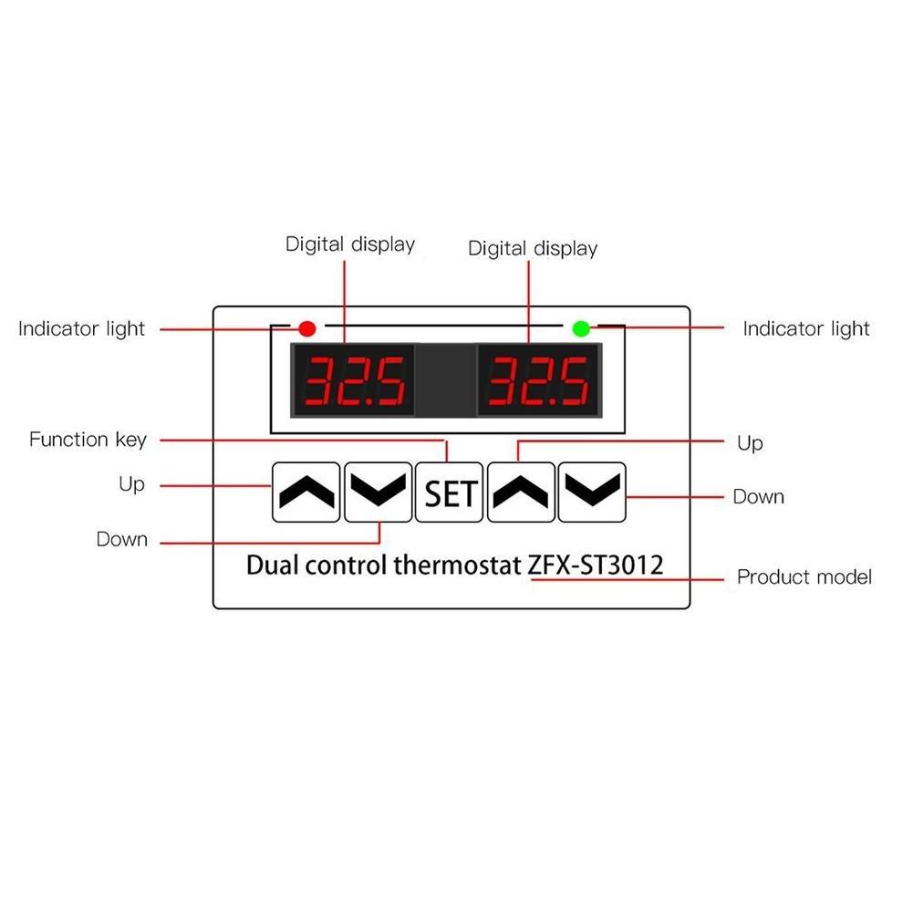 24V Prom-note Controlador de Temperatura con Sensor Controlador de temperatura inteligente digital de control de temperatura el/éctrica Controlador de pantalla doble con sensor de temperatura Sonda