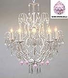 Wrought Iron & Crystal Chandelier Authentic Empress Crystal(TM) Chandelier Lighting Chandeliers with Pink Balls! Nursery, Kids, Girls Bedrooms, Kitchen, Etc.