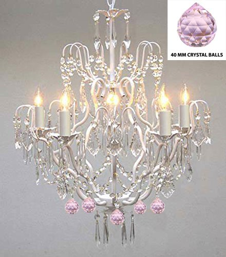 Wrought iron crystal chandelier authentic empress crystaltm wrought iron crystal chandelier authentic empress crystaltm chandelier lighting chandeliers with pink aloadofball Images