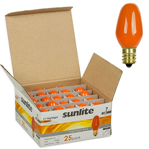 Sunlite 7C7/O Incandescent 7-Watt, Candelabra Based, C7 Night Light Colored Bulb, Orange -