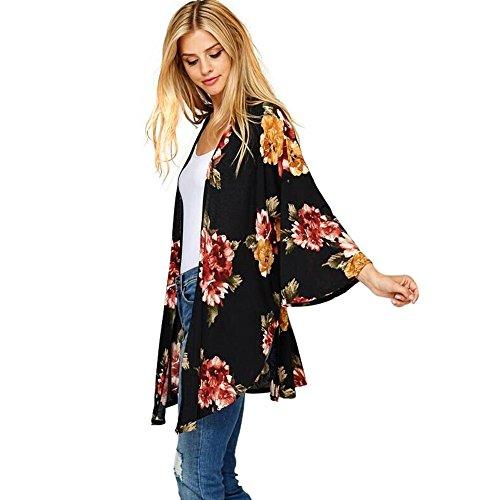 Sciallato Maniche Nero Stampato Lunghe a Kimono Collo Camicetta con Coprispalle in Abbigliamento Floreale con Beikoard twqBP76UWf