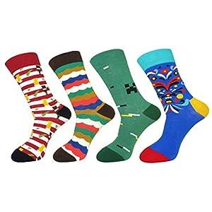 FULIER 4 Pack Men Casual Socks Colourful Design Comfortable Crew Dress Cotton Socks (Fashion 9)