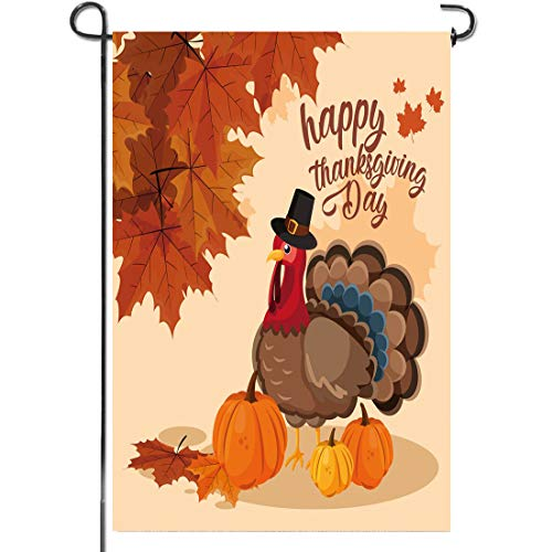OTSUN Thanksgiving Garden Flag - Fall Turkey Pumpkins Maple Leave 12 X18 Inch House Flags - Vertical Double Sided Burlap Autumn Harvest Vintage Rustic Home Yard Outdoor Decoration (Decorations Home Outdoor)
