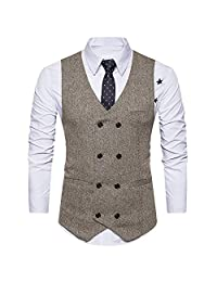 QUYP Men's Vest Classic Double-Breasted Design Casual Slim Fit White Shirt Vest Waistcoat