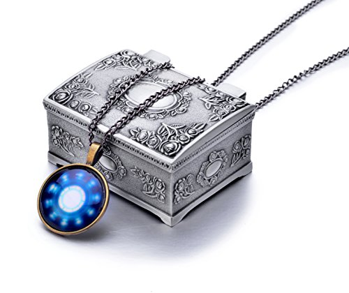 LOOMEN Marvel Superhero Key Chains and More Collection (US Seller) (Arc Reactor Necklace Brass w/ Jewelry Box)