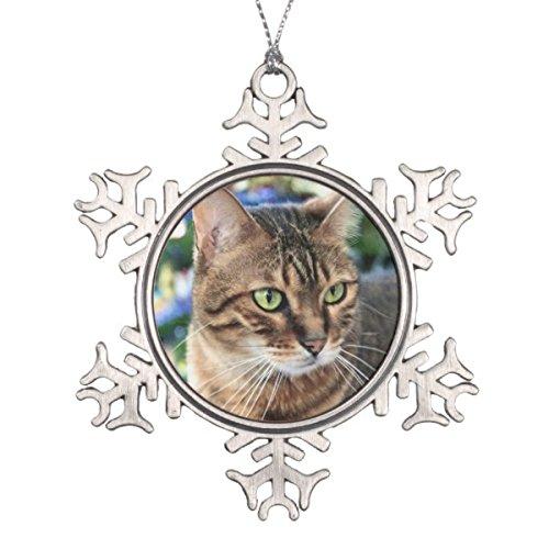 Follies Christmas Christmas Tree Background Bengal Cat Snowflake Snowflake Pewter Christmas Ornament