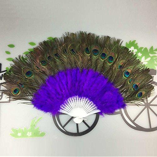 Holzkary Chinese Style Vintage Folding Hand Held Fan/Paper Fan/Feather Fan/Sandalwood Fan/Bamboo Fans for Wedding, Party, Dancing(37cm.Purple)