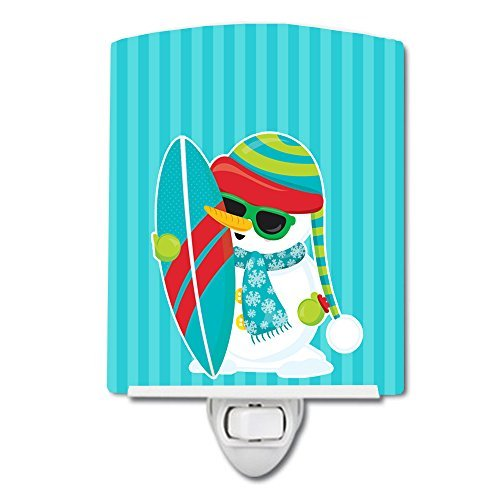 Caroline's Treasures Beach Snowman Surfer Ceramic Night Light, Blue, 6