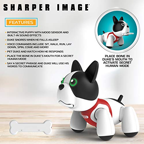 Sharper Image RC Toy Duke The Trainable Robotic Puppy Dog with Smart Bone, Virtual Robot Pet for Kids, Barks and Plays Tricks on Command, Responds to Touch and Voice by Sharper Image (Image #2)