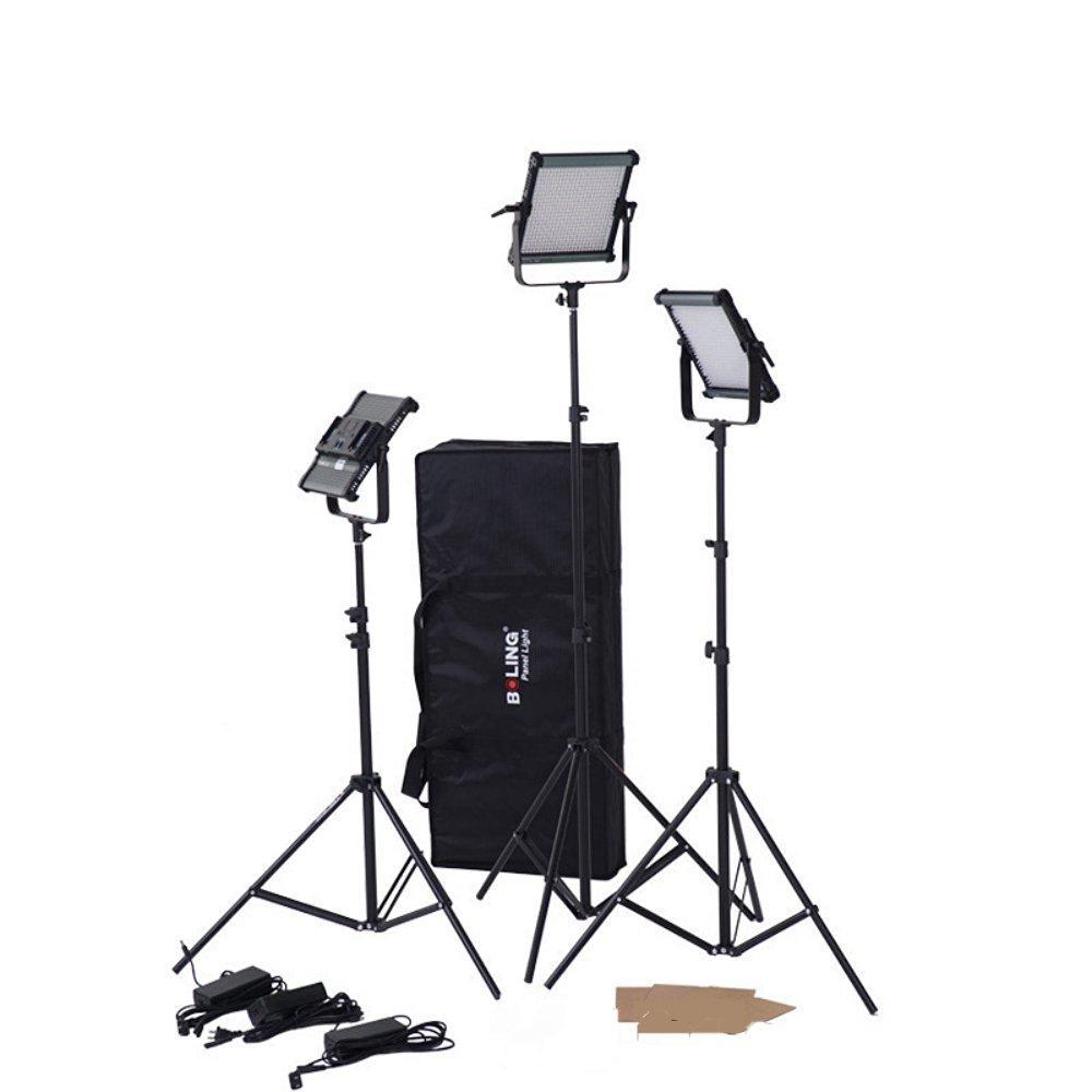 BOLING BL-2220P 576個LED撮影ライトledパネルライト 5500K色温度 38W CRI 95 高演色性ビデオライト 超薄型 組み合い スタジオに適用 ライトスタンド付き (BL-2220Px3)  BL-2220Px3 B07CMQDH54