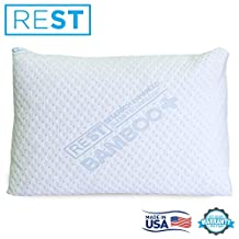 """Bamboo Pillow Cover With Zipper By REST. Turn Your Pillow Into A Bamboo Pillow! Hypoallergenic, Dust Mite/Bed Bug Resistant, Made in the USA! (1, King 18"""" x 34"""")"""