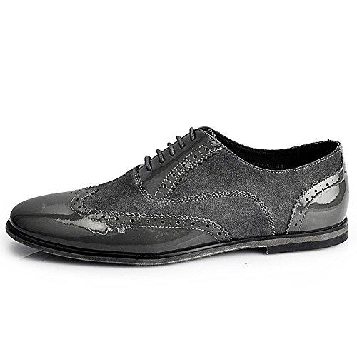 d5a2d959fc09 Fulinken Silver Leather Men Lace Up Classic Oxford Dress Boot Business  Shoes Grey Silver kJcSsHk12 ...