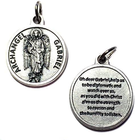 大天使ガブリエル 守護メダルペンダントチャーム 祈り付き イタリア製 シルバートーン カトリック 3/4インチ